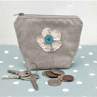 Coin Purse with Appliqued Flower