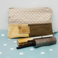 Zipped Cosmetic Bag, Mustard Patchwork