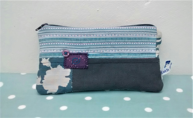 Pencil Case , Fabric Patchwork Zipped Pouch