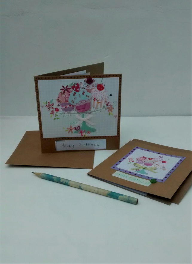 2 Birthday Cards, Cupcakes and Flowers, Eco Friendly Upcycled Card