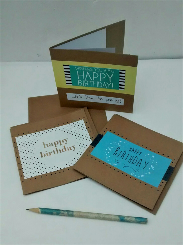 Set of 3 Birthday Cards, Happy Birthday, Eco Friendly Upcycled Card