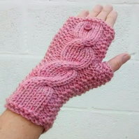 Knitted Wrist Warmers, Pink Fingerless Gloves