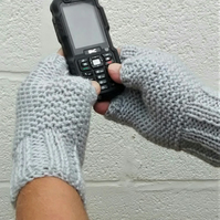 Men's Fingerless Gloves, Grey Aran Gloves