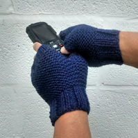 Men's Fingerless Gloves, Blue Aran Gloves