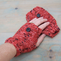 Fingerless Gloves, Knitted Gloves in Russet Tweed