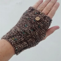 Fingerless Gloves, Brown Tweed Knitted Gloves