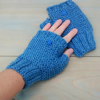 Ladies Fingerless Gloves, Denim Blue Aran Gloves