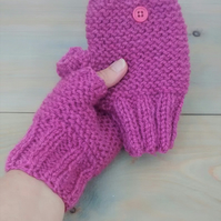 Pink Fingerless Gloves in Aran