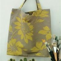 Tote Bag in Mustard Floral Fabric
