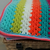 Crocheted Blanket, Multicoloured Handmade Blanket