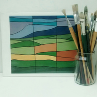 Abstract Landscape Print, Pendle from Clitheroe