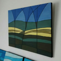 Original Abstract Painting, Buttercup Fields