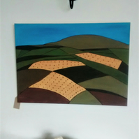 Original Abstract Painting, Harvest Fields