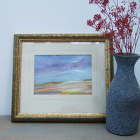 Original Watercolour Seascape Framed Painting, Sunset Clouds