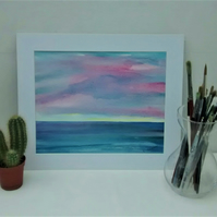 Original Watercolour Seascape Painting, Pink Clouds at Sunset