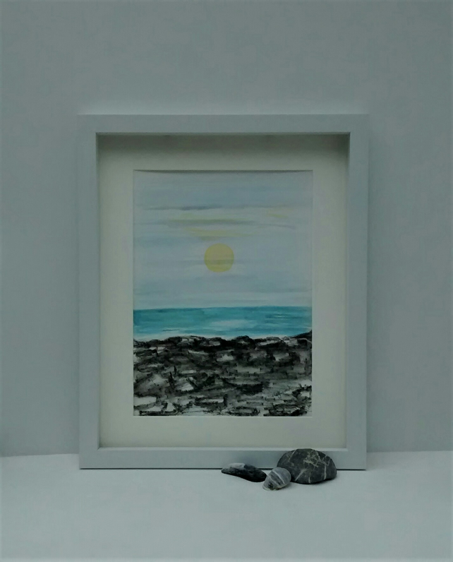 Original Watercolour Seascape Framed Painting, Winter Sunset