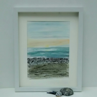 Original Watercolour Seascape Framed Painting, Sunset over La Gomera, Tenerife