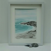 Original Watercolour Seascape Framed Painting, Pebbles on the Beach