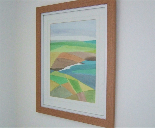Original Watercolour Framed Painting, Menorcan Seascape 1