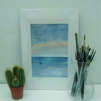 Original Watercolour Seascape Painting, Lone Yacht at Sunset