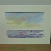 Watercolour Seascape Painting, Cloud at Sunset, Original Painting