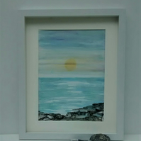 Original Watercolour Seascape Framed Painting, Rocky Shore