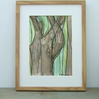 Original Watercolour Framed Painting, Tree Bark 2