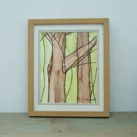 Original Watercolour, Framed Painting, Tree Bark 3