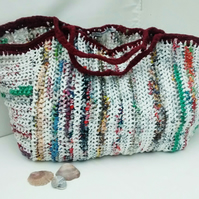 Large Crochet Beach Bag, Recycled Plastic Bag, Eco Crocheted Plarn Shopper