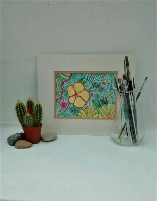 Original Watercolour Painting, Tropical Flower Medley