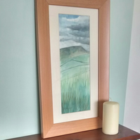 Original Watercolour, Framed Painting, Storm Brewing Over Pendle, Lancashire