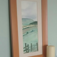 Original Watercolour, Framed Painting, Towards Pendle, Lancashire