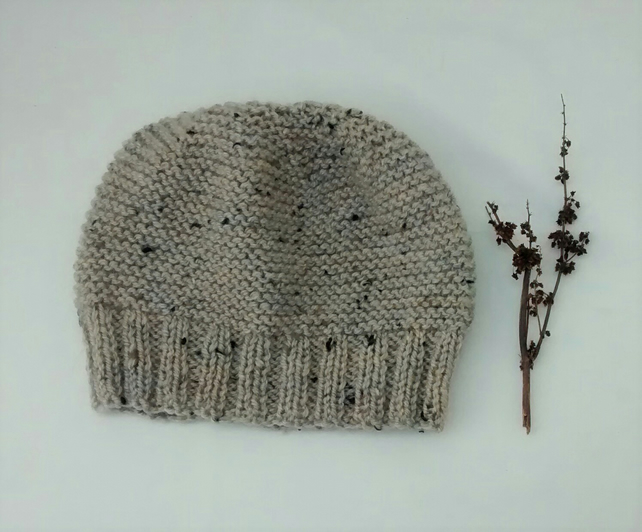 Hand Knitted Beanie Hat in Oatmeal Tweed