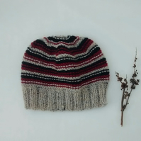 Beanie Hat in Striped Aran