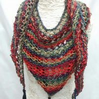 Triangle Lace Knit Scarf, Hand Knitted Shawl, Multicoloured Tassel Shawl