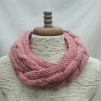 Knitted Cowl in Rose Pink Aran
