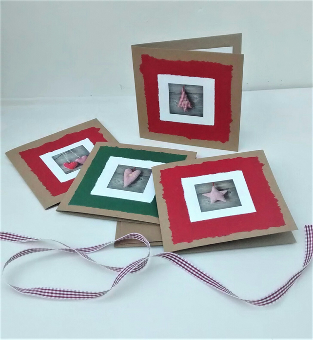 Christmas Cards, Pack of 4 Recycled Cards, Rustic Style, Handmade Cards