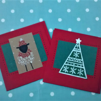 Reduced, Christmas Cards, Pack of 2 Handmade Cards