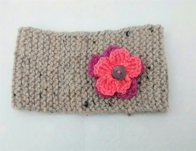Knitted Headband with Flower