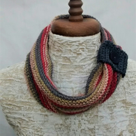 Ladies Cowl Scarf with Button, Autumn Colours