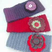Crocheted Headband, Ear Warmers with Flower