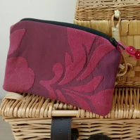 Burgundy Make Up Bag , Zipped Pouch