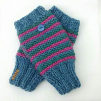 Hand Knit Fingerless Gloves Stripy