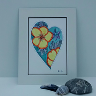 Watercolour Painting, Floral Heart 2