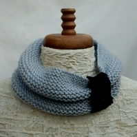 Knitted Cowl Scarf, Light Grey