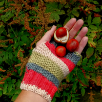 Stripy Fingerless Gloves in Autumn Colours
