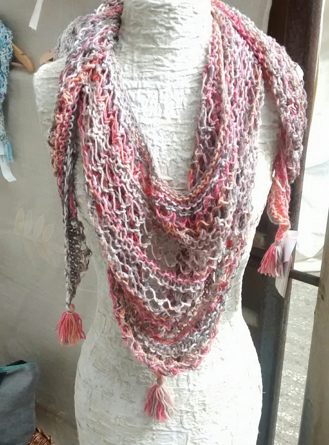 Triangle Lace Knit Scarf, Hand Knitted Shawl, Peach Wrap