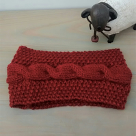 Cable Knit Ear Warmers in Russet Aran, Hand Knit Headband