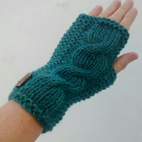 Fingerless Gloves, Ladies Green Tweed Wrist Warmers