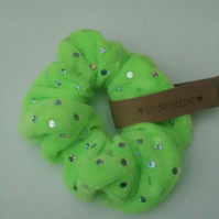 Lime Green Sequin Hair Scrunchie